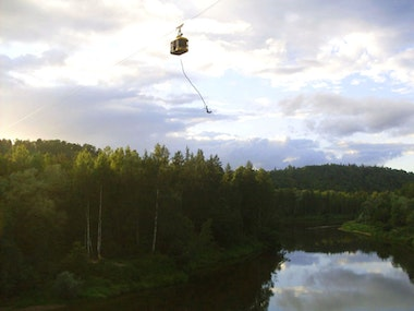 Bungee Jumping From a Cable Car in Riga