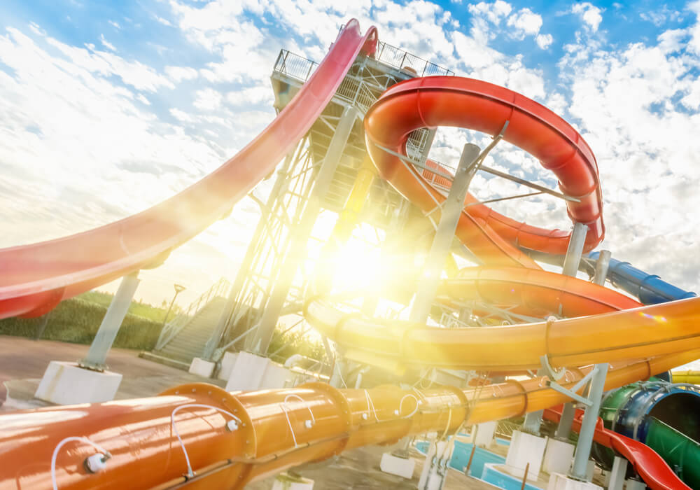 Brightly coloured water slides