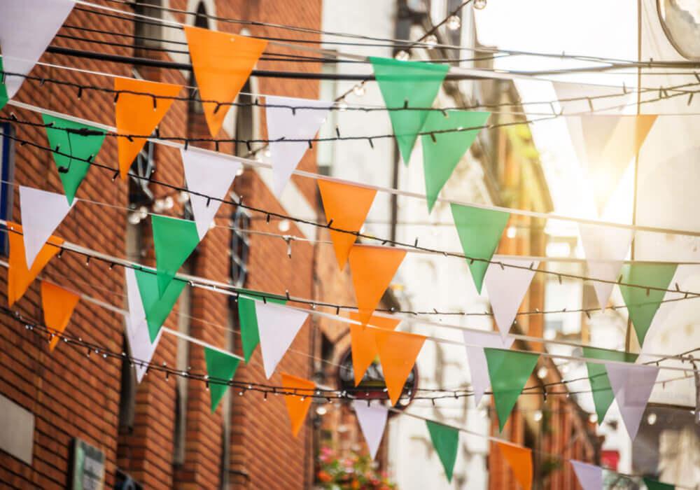 Garland of irish flag hanging in street