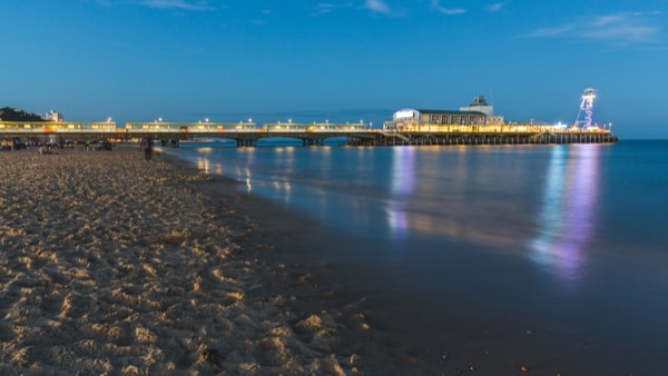 Image of Bournemouth beach and the pier in the evening