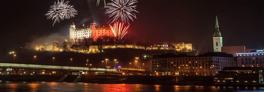 bratislava views of fireworks