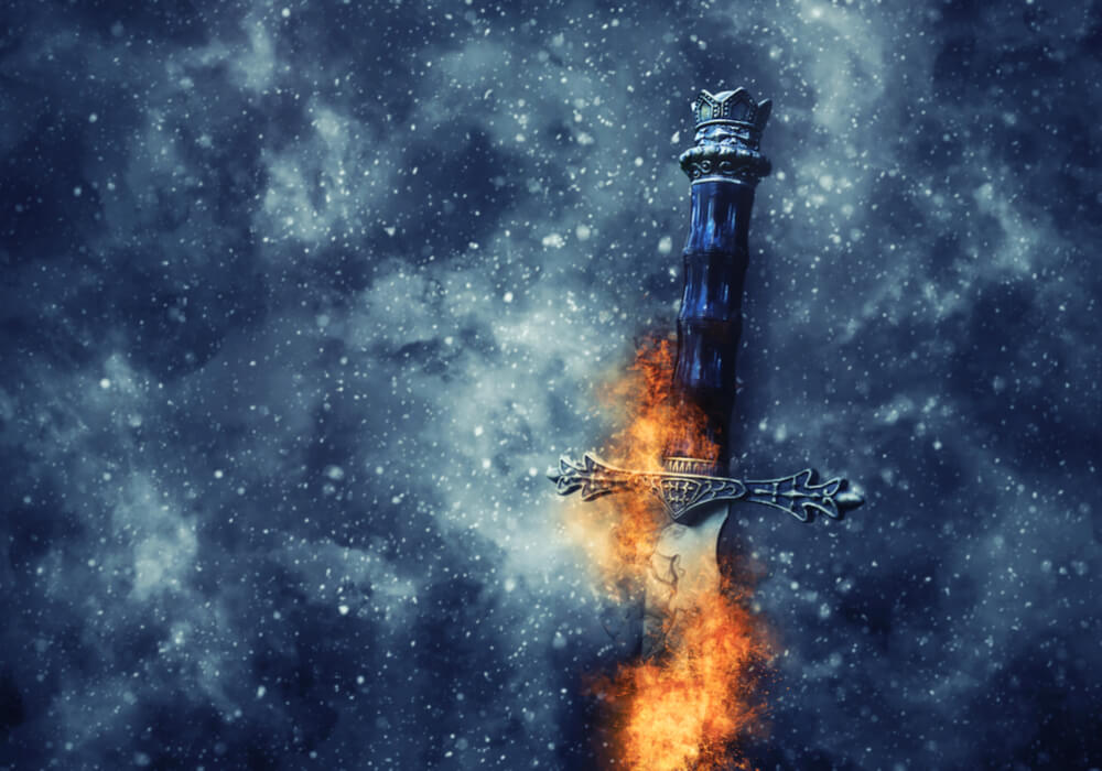 Game of Thrones style silver sword with fire flames and snowy background