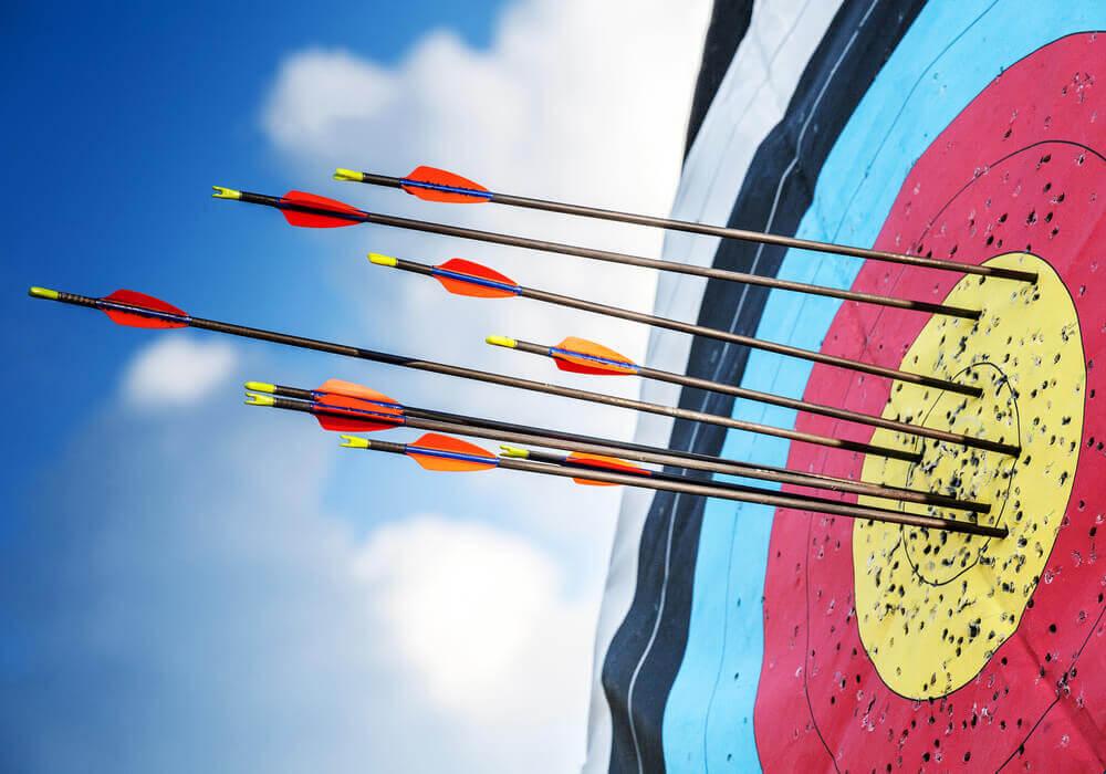 Archery arrows on target