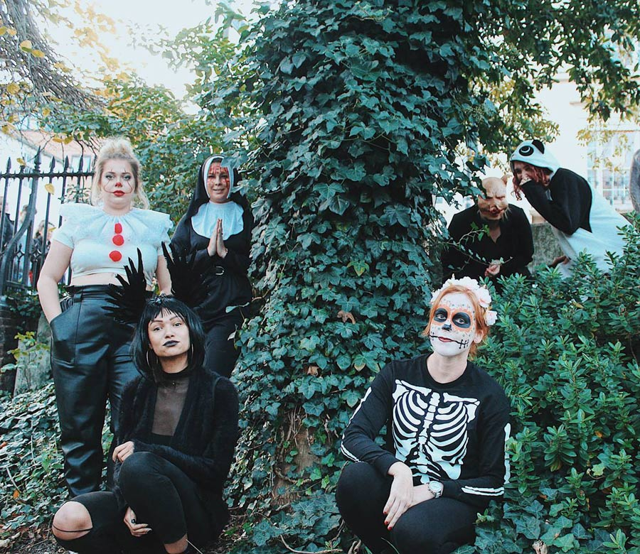 Some of Hen Heaven and The Stag Company posing for a Halloween photoshoot