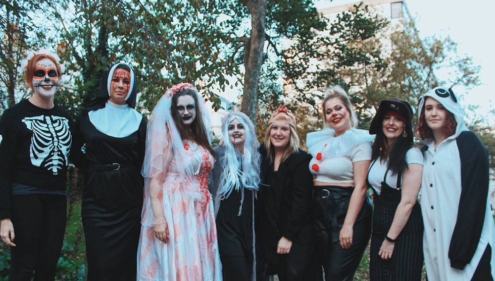 The Stag Company and Hen Heaven team in their Halloween costumes