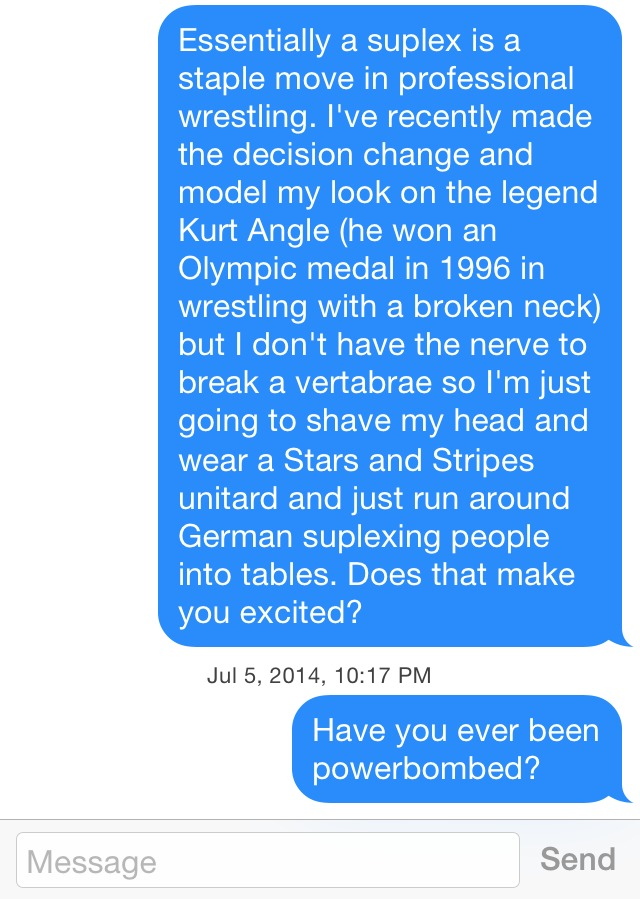 More wrestling on Tinder