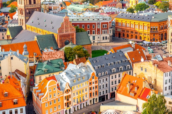 Coloured buildings in Riga