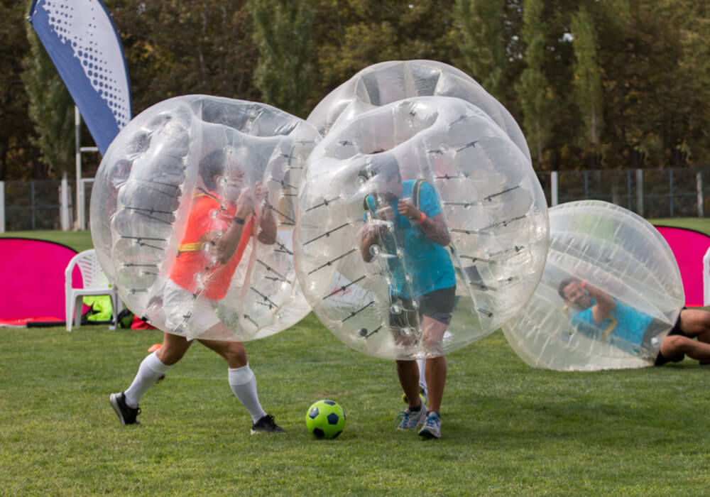 People playing the most popular stag do activity Bubble Football