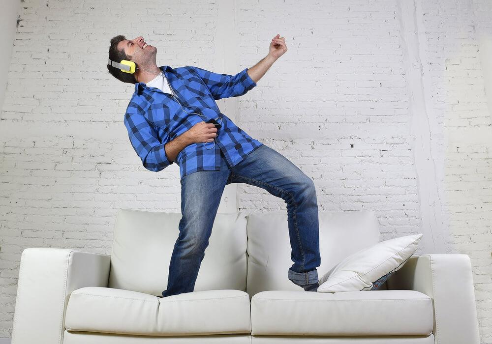 Man dancing at virtual dance party